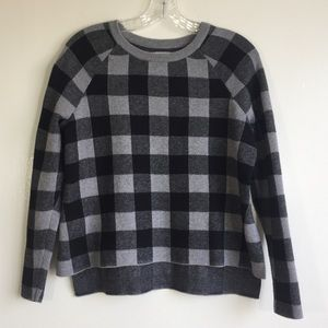 Bass grey and black plaid high low sweater sz XS